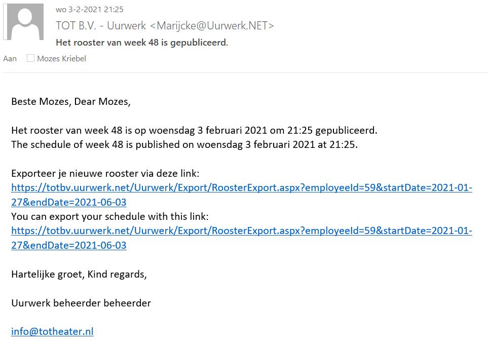 E-mail bij publicatie van een nieuw rooster