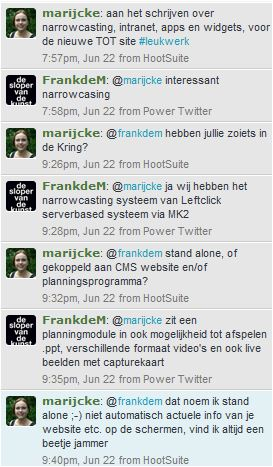 Twitterconversatie over narrowcasting