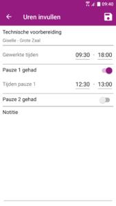 Uurwerk Online app gewerkte uren invullen