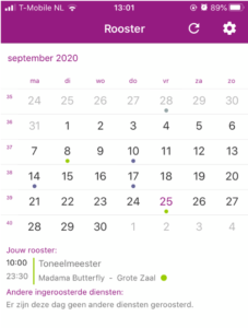 Uurwerk Online app roosterscherm